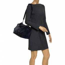 Celine Navy Blue Leather Medium Trapeze Bag 281386