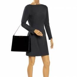 Stella McCartney Black Croc Embossed Leather Shoulder Bag 281184