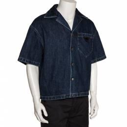 Prada Indigo Denim Logo Plaque Detail Bowling Shirt M 281403