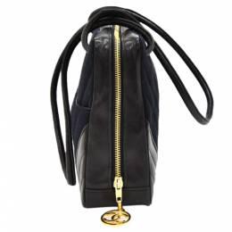 Chanel Black V Stitched Cotton And Leather Shoulder Bag