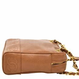 Chanel Brown Caviar Leather CC Chain Shoulder Bag