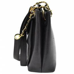 Chanel Black Caviar Leather Front Envelope Pocket Chain Shoulder Bag