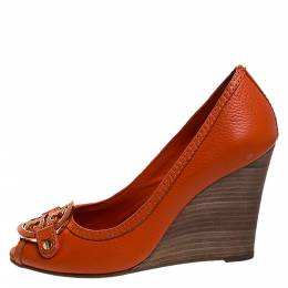 Tory Burch Orange Leather Logo Wedge Peep Toe Pumps Size 36.5 281326