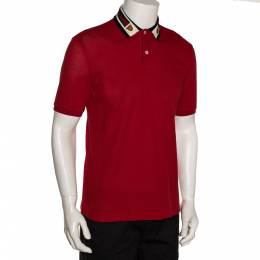 Gucci Red Cotton Pique Web & Feline Head Detail Polo T Shirt M 281335
