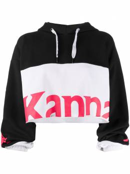 Kappa colour block logo print cropped hoodie 304S4P0