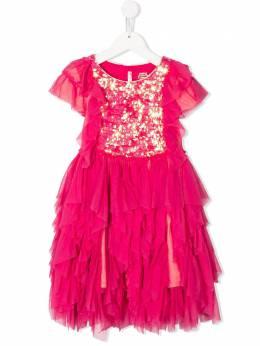Billieblush платье с оборками и вышивкой пайетками U1250748M