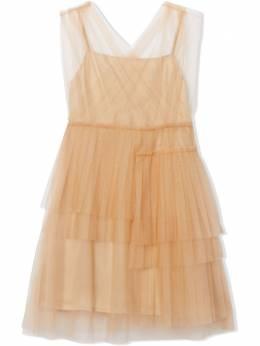 Burberry Kids ярусное платье миди с тюлем 8022413