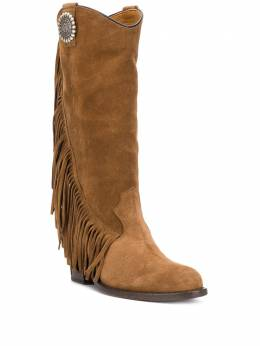 Via Roma 15 textured fringed detail knee-length boots 3259086