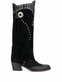 Via Roma 15 studded fringed detail knee-length boots 3302
