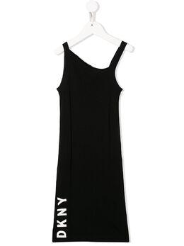DKNY Kids платье асимметричного кроя с логотипом D3274709B