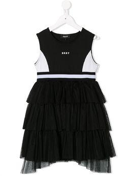 DKNY Kids платье из тюля в стиле колор-блок D3273509B