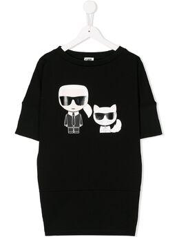 Karl Lagerfeld Kids платье-футболка с принтом Karl Z1214109B