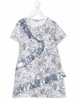 Kenzo Kids платье с принтом и оборками KQ30138
