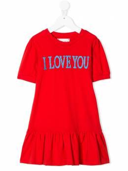 Alberta Ferretti Kids платье из джерси I Love You 022157