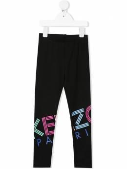 Kenzo Kids легинсы с переливающимся логотипом KQ24028