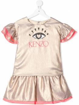 Kenzo Kids платье Eye с оборками и логотипом KQ30168