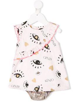 Kenzo Kids платье с принтом и оборками KQ30037