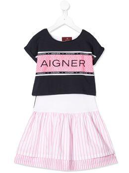Aigner Kids платье-толстовка с логотипом 52931800