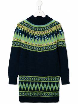 Alberta Ferretti Kids трикотажное платье с пайетками 021196