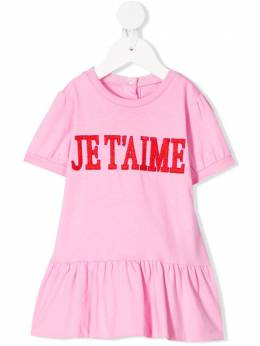 Alberta Ferretti Kids ярусная юбка с вышивкой Je T'aime 024409