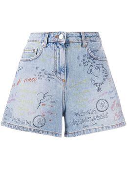 MSGM джинсовые шорты с принтом граффити 2842MDB145L207466