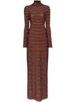 Rosetta Getty платье макси в полоску с высоким воротником 11204P1559