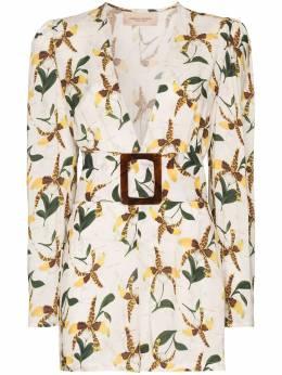 Adriana Degreas короткий комбинезон с цветочным принтом и поясом MQCT0041V20