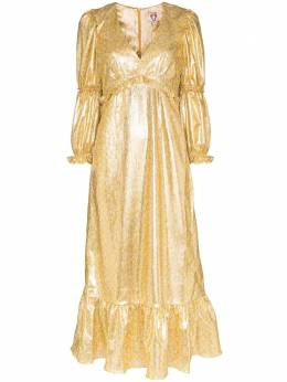 Shrimps платье миди Rosemary из ткани ламе с оборками ROSEMARY