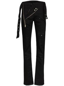 Zilver брюки кроя слим на молнии с поясом SS19WTR07