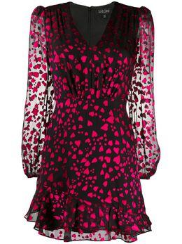 Saloni платье мини с принтом и длинными рукавами 10324790