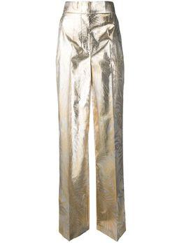 Sara Battaglia брюки широкого кроя с эффектом металлик SB3001313