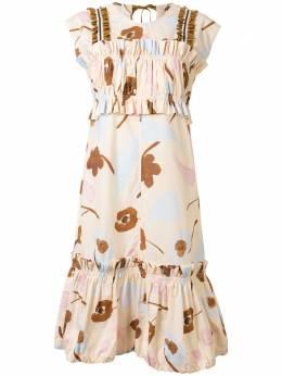 Lee Mathews ярусное платье миди с цветочным принтом M1904DR296