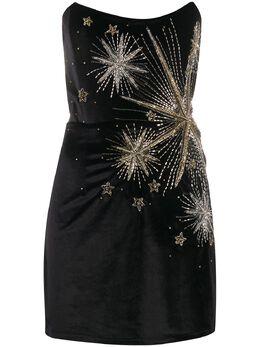 Retrofete бархатное платье мини без бретелей HL202515