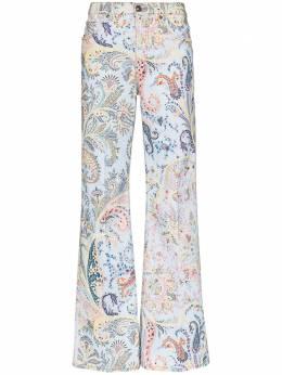 Etro расклешенные джинсы с принтом пейсли 137059834