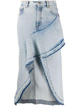 Off-White джинсовая юбка асимметричного кроя с оборками OWYF001S20DEN0024500