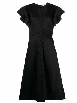 Veronica Beard платье миди с оборками на рукавах и складками 2001PO0072787