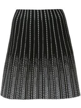 Paule Ka полосатая юбка мини с вышивкой 419JU03