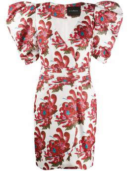 John Richmond платье мини с пышными рукавами и цветочным принтом RWP20124VE