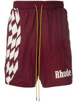 Rhude crinkled effect logo print track shorts RHU07MS20091000