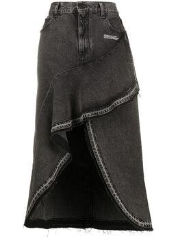 Off-White джинсовая юбка асимметричного кроя OWYF001S20DEN0020700