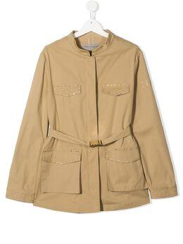 Ermanno Scervino Junior куртка в стиле милитари с отделкой 461CP01GAB