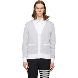 Thom Browne Grey and White Seersucker Stripe Cardigan MJT207A-01732