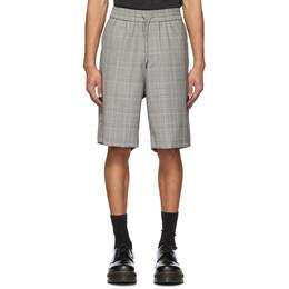 R13 Grey Wool Plaid Baggy Shorts R13W7640-HFPM