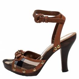 Burberry Brown Nova Check Canvas and Leather Ankle Strap Clog Sandals Size 37 328547