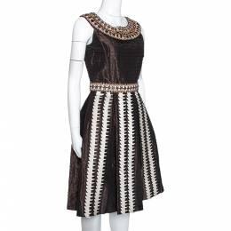 Oscar De La Renta Brown Silk Embellished & Pleated Sleeveless Dress S 280532