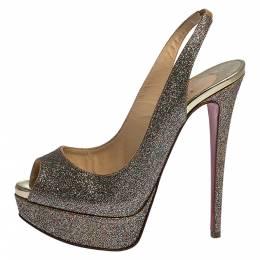Christian Louboutin Multicolor Glitter Fabric Lady Peep Toe Platform Slingback Sandals Size 36.5 280825