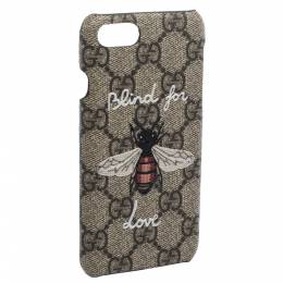 Gucci Beige GG Supreme Canvas Blind For Love iPhone 7 Case 282108