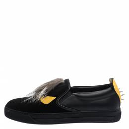 Fendi Black/Yellow Leather and Suede Fur Detail Monster Slip On Sneakers Size 42 281451
