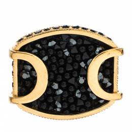 Dior Black Crystal Studded Gold Tone Cocktail Ring Size 52