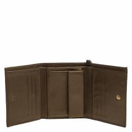 Carolina Herrera Metallic Gold Leather Gigi Trifold Wallet